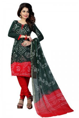 Graceful Multicolor Satin Cotton Bandhni Dress Material