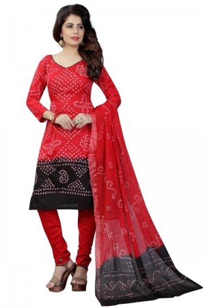Bewitching Multicolor Satin Cotton Bandhni Dress Material