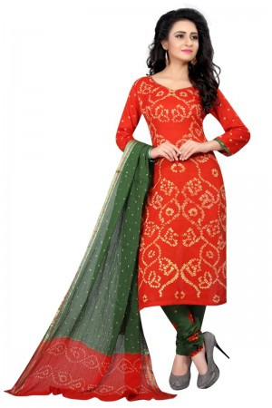 Royal Multicolor Satin Cotton Bandhni Dress Material