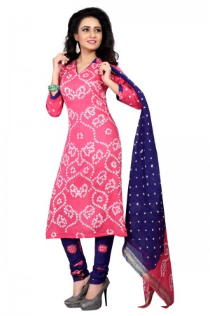 Bedazzling Multicolor Satin Cotton Bandhni Dress Material