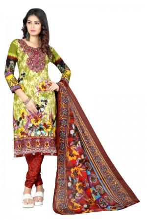 Fabulous Multicolor Cotton Bandhni Dress Material