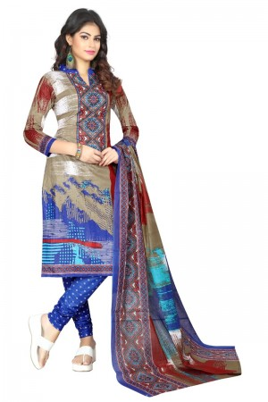 Enthralling Multicolor Cotton Bandhni Dress Material