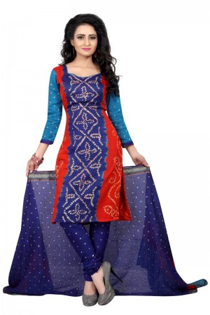 Blissful Multicolor Satin Cotton Bandhni Dress Material
