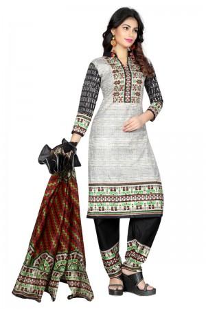Glitzy Multicolor Cotton Bandhni Dress Material