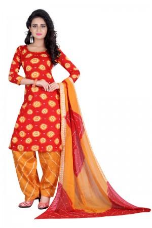 Astounding Multicolor Satin Cotton Bandhni Dress Material