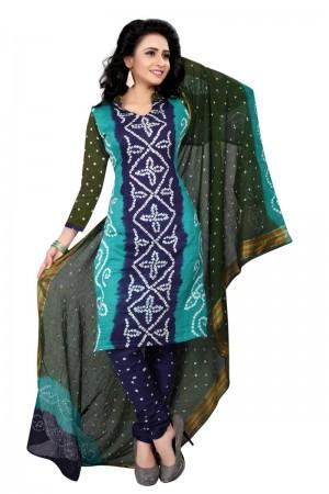 Sparkling Multicolor Satin Cotton Bandhni Dress Material