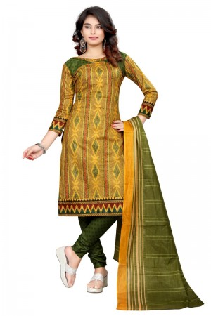 Dreamy Multicolor Cotton Bandhni Dress Material