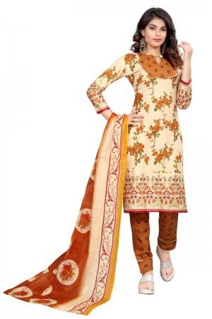 Divine Multicolor Cotton Bandhni Dress Material