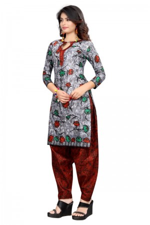 Desirable Multicolor Cotton Bandhni Dress Material