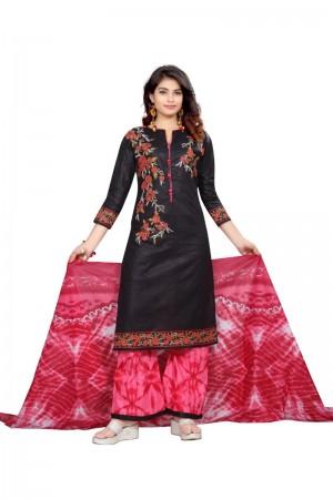 Sensuous Multicolor Cotton Bandhni Dress Material
