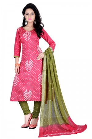 Aesthetic Multicolor Satin Cotton Bandhni Dress Material