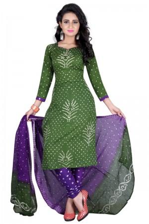 Amiable Multicolor Satin Cotton Bandhni Dress Material