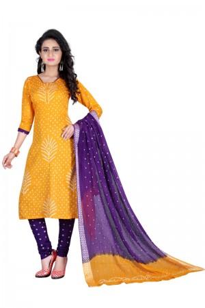 Adorable Multicolor Satin Cotton Bandhni Dress Material