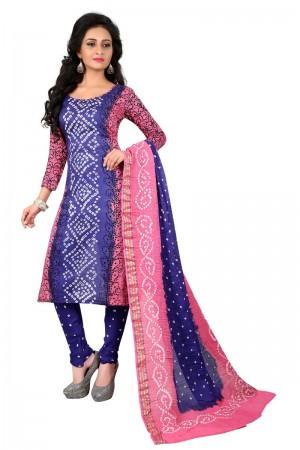 Versatile Multicolor Satin Cotton Bandhni Dress Material