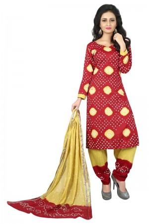 Charming Multicolor Satin Cotton Bandhni Dress Material
