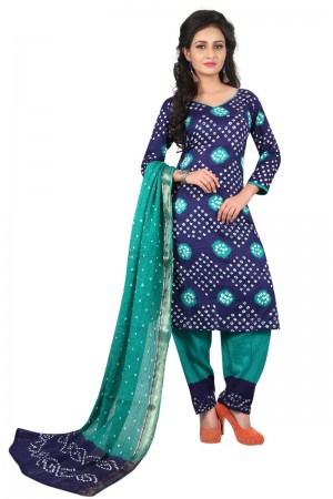 Awesome Multicolor Satin Cotton Bandhni Dress Material