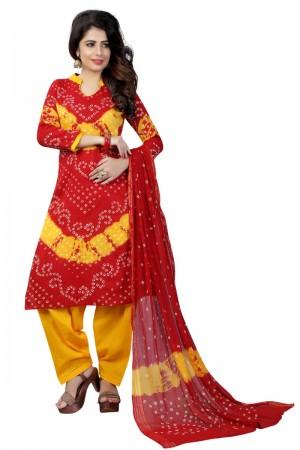 Delusive Multicolor Satin Cotton Bandhni Dress Material