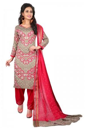 Definitive Multicolor Satin Cotton Bandhni Dress Material