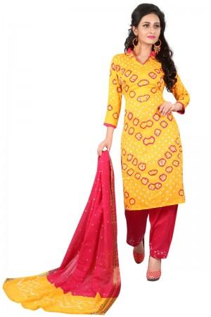 Affluent Multicolor Satin Cotton Bandhni Dress Material