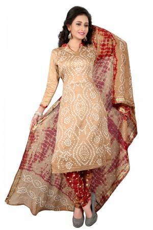 Pleasant Multicolor Satin Cotton Bandhni Dress Material