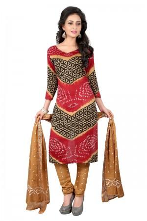 Contemporary Multicolor Satin Cotton Bandhni Dress Material