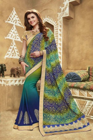 Navy Blue Multicolor Zari and Thread Embroidered Work With Lace Border Saree