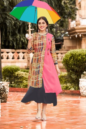 Creative Multicolor Georgette Printed Kurti