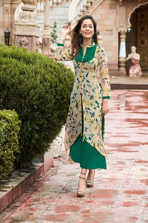 Enchanting off white Georgette Printed Kurti
