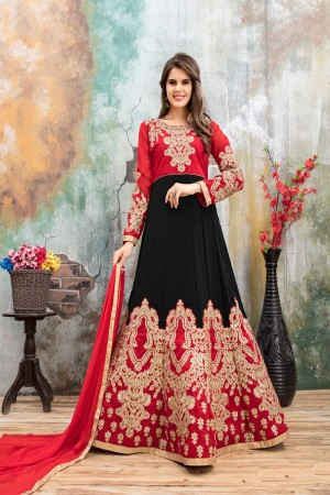 Black & Red Faux Georgette Salwar Kameez