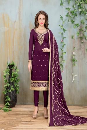 Purple Faux Georgette Salwar Kameez