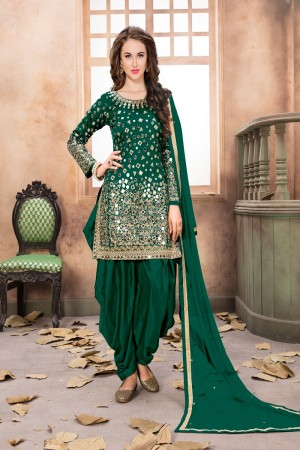 Green Taffeta Silk Salwar Kameez