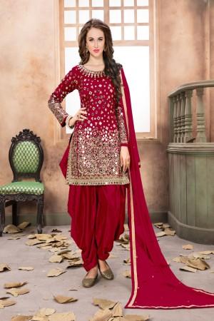 Red Taffeta Silk Salwar Kameez