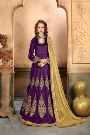 Purple Mullberry Silk Salwar Kameez