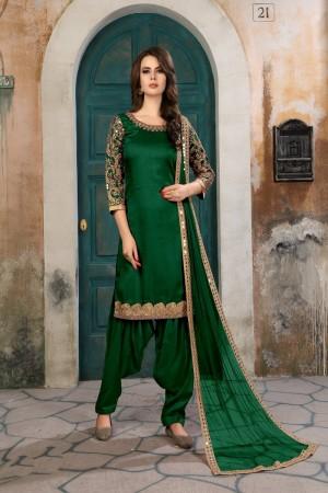 Green Art Silk(First Face) Salwar Kameez
