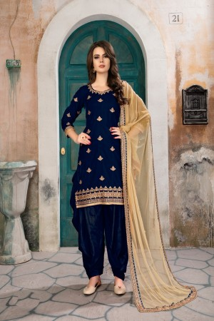 Blue Velvet Salwar Kameez