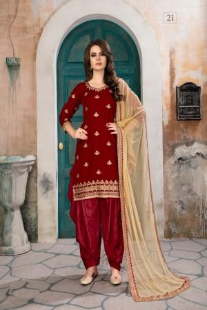 Red Velvet Salwar Kameez