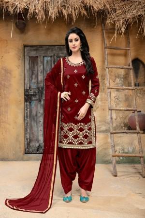 Maroon Taffeta Silk Salwar Kameez