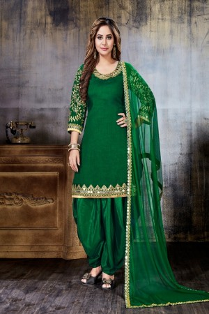 Green Art Silk(First Face) Salwar Kameez
