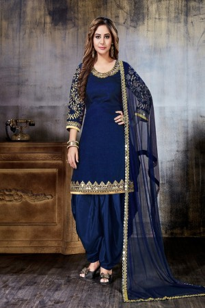 Blue Art Silk(First Face) Salwar Kameez