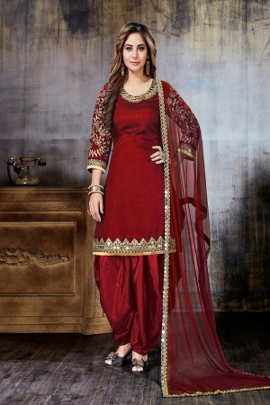 Maroon Art Silk(First Face) Salwar Kameez