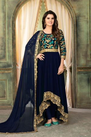 Dark blue Faux Georgette Salwar Kameez