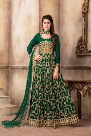 Green Art Silk(Kit-Kat Silk) Salwar Kameez