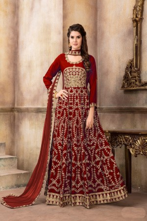 Red Art Silk(Kit-Kat Silk) Salwar Kameez