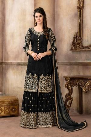Black Pure Viscose Upada Silk Salwar Kameez