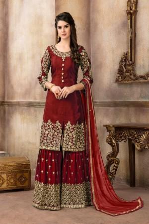 Maroon Pure Viscose Upada Silk Salwar Kameez