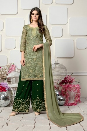 Light Pista Organza with heavy work Salwar Kameez
