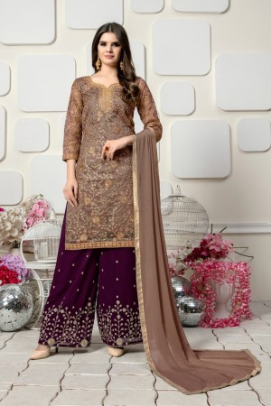 Light Coffee Organza with heavy work Salwar Kameez