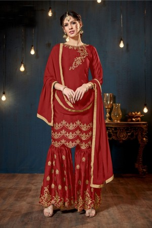 Red Satin Georgette Salwar Kameez