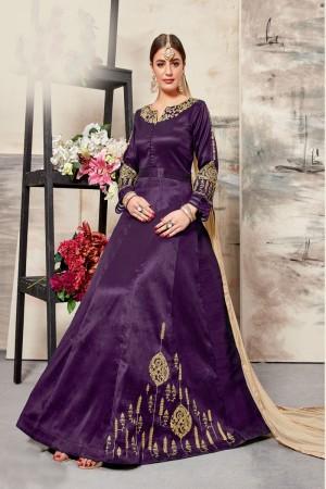 Purple Silk (Mulberry) Salwar Kameez
