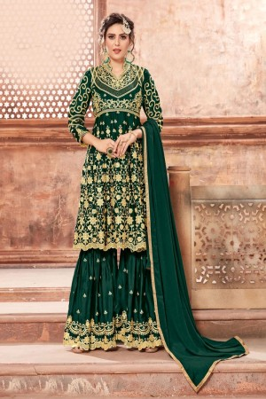 Green Satin Georgette Salwar Kameez